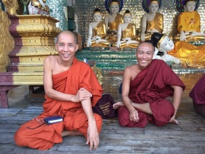 Smiley monks will practice English with you.