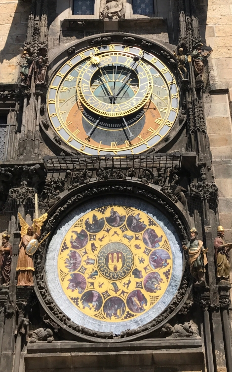 The Astronomical clock. It was under restoration so the sides are cut out